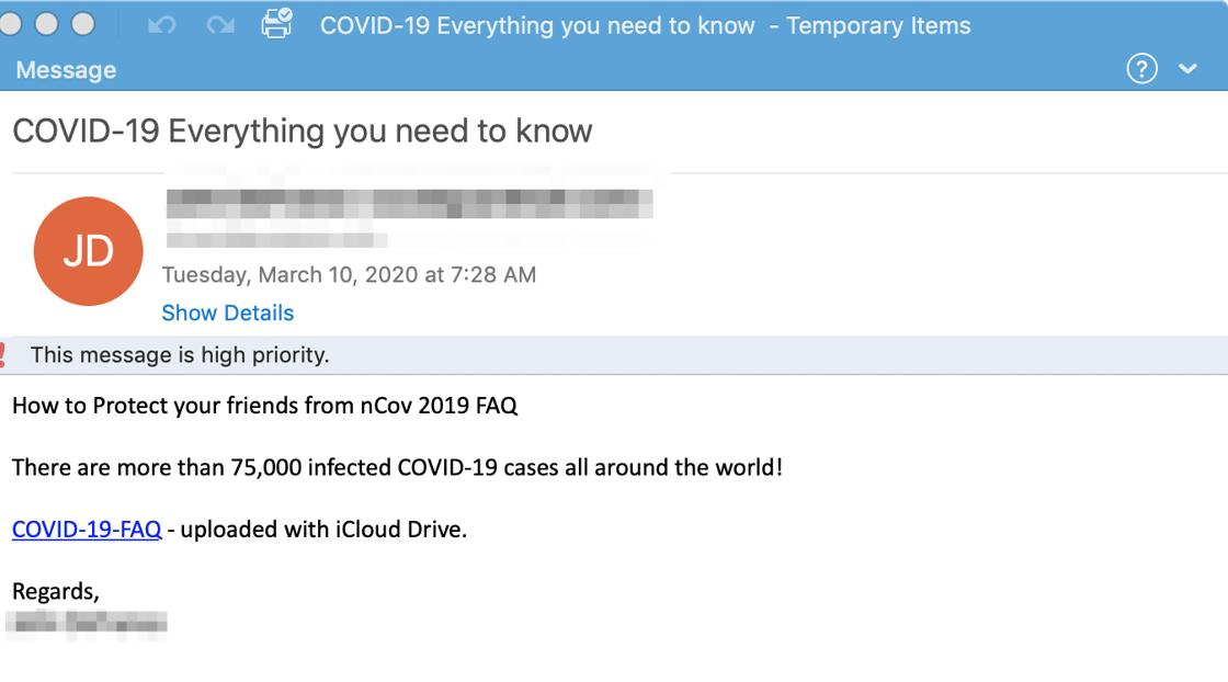 coronavirus email spam example